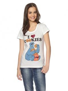 Damen Sesamstrasse T-Shirt Krümelmonster Shirt Aufdruck kurzarm weiß 793720