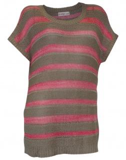 Sheego Pullover Strick Streifen Pulli Shirt kurzarm taupe koralle 56/58 465025