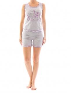 Damen Pyjama Schlafanzug Top Shirt Kurzarm kurze Shorts Motiv 5184