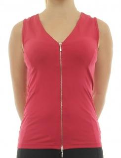 B.C. Damen Shirttop Shirt ärmellos Top Tanktop Reißverschluss rot 021612