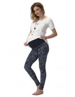 Umstand Hose Leggings lang Bauch gekämmte Baumwolle Muster-7-Blumen-Blau