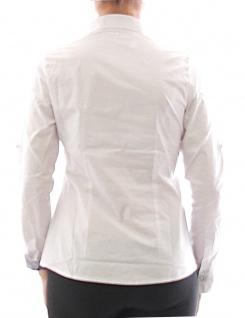 Damen Bluse Hemd Langarm Shirt Tunika Business Weiss Baumwolle 349 - Vorschau 3