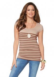 Melrose Damen T-Shirt Kurzarm Rundhalsausschnitt Streifen beige Gr. 44 837055