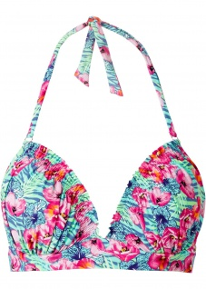 Rainbow Damen Bikini Oberteil Push Up Neckholder Bademode türkis Cup C 953680