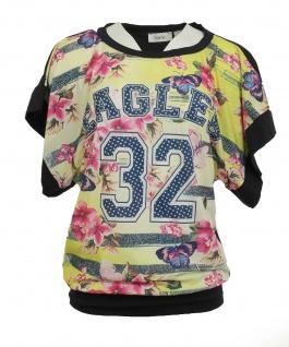 Heine Damen Druckshirt Shirt T-Shirt Bluse Tunika gelb dunkelblau Gr. 34 051296