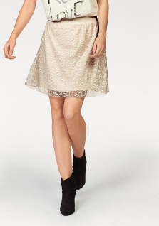 Aniston Damen Minirock Spitze Rock Mini Skirt Spitzenrock creme 718829
