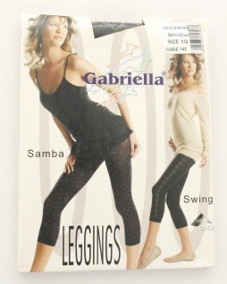 Marke Gabriella Leggings Capri 3/4 Swing Nero/silver Schwarz/silber