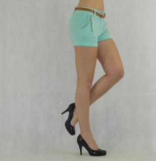 Damen Shorts mit Gürtel Hot Pants kurze Hose Bermuda Stretch - Vorschau 3