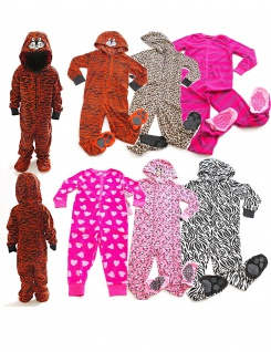 Kinder Schlafanzug warm Animation Jumpsuit Overall Tiere Nachtwäsche Store-21-F - Vorschau 1