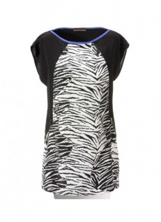 Tamaris Damen Longbluse Tunika Bluse Shirt Zebra-Print Top Polyester 637140