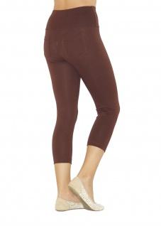 Capri 3/4 Damen Leggings Leggins Baumwolle Hose hoher Bund mit Taschen - Vorschau 4