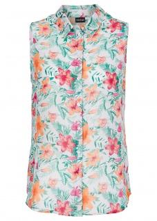 Bodyflirt Damen Bluse Top ärmellos Hemd Shirt Blumen-Muster weiss Gr. 40 913699