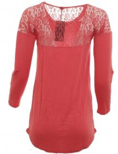 Laura Scott Damen Bluse Spitze Langarm Shirt Pullover Tunika korallenrot 520413