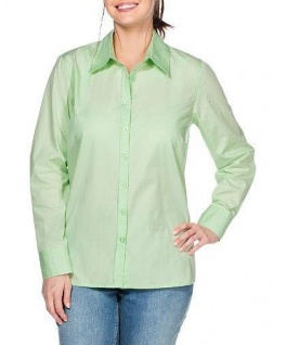 Sheego Damen Bluse langarm Shirt Tunika Knopfleiste grün 540426 - Vorschau
