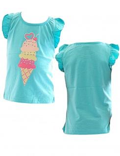 Kinder Mädchen Shirt Ärmellos bedruckt T-Shirt Bluse Top Tunika YG Icecream