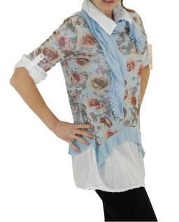 Hemd Shirt Tunika Poncho Bluse Tank TOP 3 Teile SET T-Shirt Halstuch Pulli - Vorschau 4