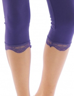 Capri 3/4 Leggings Spitze Baumwolle blickdicht Damen Hose Wäsche Leggins