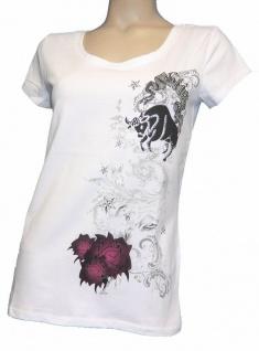 AJC Shirt Stretchshirt Stier Strass Print T-Shirt Bluse Top Tunika Weiß 616075