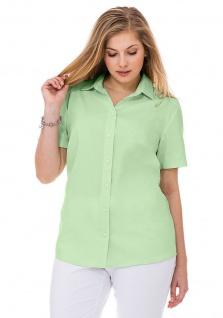 Sheego Damen Bluse Hemd Shirt Knopfleiste kurzarm Stretch grün 819766