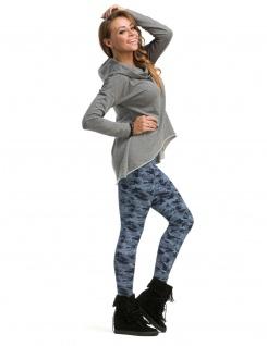 Leggings lang hoher Bund Hose gekämmte Baumwolle Muster-15-Camouflage-Blau