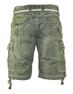 Herren Jeans kurze Hose lange Cargo Shorts Bermuda Caprihose mit Gürtel 8835 - Vorschau 2