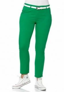 Sheego Hosen Stoffhose Stretch Hose Chinos Casual grün Kurzgröße 25 306983