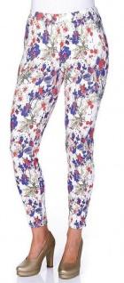 Sheego Damen Leggings Hose lang Blumen-Print Leggins Röhre enge Stretch 853256