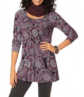 Boysen's Tunika Elsa langarm Shirt Bluse Allover-Print schwarz pink 34 282572