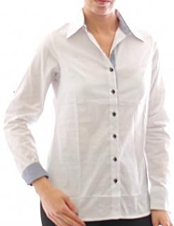 Damen Bluse Hemd Langarm Shirt Tunika Business Weiss Baumwolle 273 - Vorschau 1