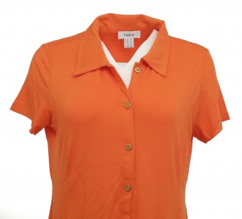 Heine Polokleid Kleid Polo Hemd Tunika kurzarm knielang orange 005860 - Vorschau 5