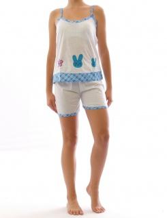 Pyjama Schlafanzug Top Shirt Spaghettiträger kurze Shorts Motiv blau S 2267