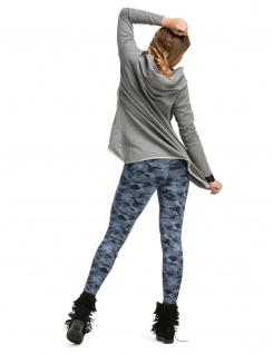 Leggings lang hoher Bund Hose gekämmte Baumwolle Muster-15-Camouflage-Blau - Vorschau 2