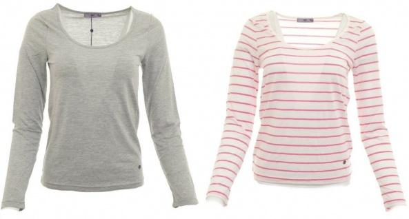 AJC Shirt Doppelpack langarm Bluse Pullover Streifen grau weiß Gr. 34 762359