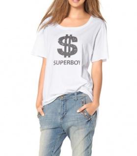 AJC Damen Shirt Oversize Rollkanten kurzarm Print Bluse Tunika Gr. 34 670329