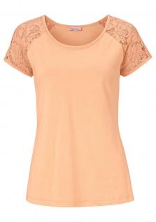 Aniston Damen Shirt Rückenteil Spitze Kurzarm Bluse Tunika Apricot 521386