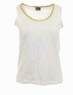 Chillytime Damen Top Tank gold Rundhals Shirt Tunika Bluse T-Shirt weiß 303313