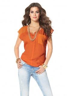 Laura Scott Damen Chiffon-Bluse Shirt Top Tunika ärmellos Hemd orange 700639