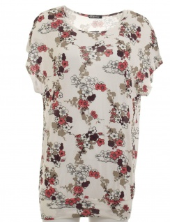 Chillytime Damen Longshirt Shirt Tunika Bluse Top T-Shirt Blumen Viskose 564635