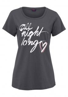 Buffalo Damen T-Shirt kurzarm Aufdruck grau Bluse Tunika Gr. 32/34 521014