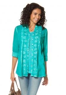 Boysen's Longbluse Bluse langarm Hemd Shirt Knopfleiste türkis Gr. 38 718632