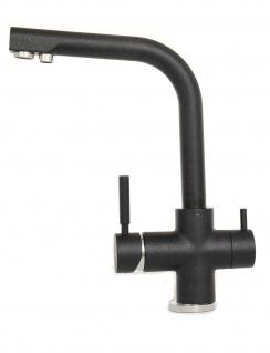 3 Wege Wasserhahn Wasserfilter für Osmose YM8816-3 schwarz metallic matt