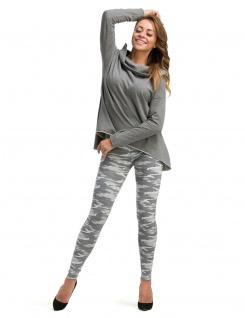 Leggings lang hoher Bund Hose gekämmte Baumwolle Muster-13-Camouflage-Grau