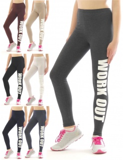 Lange Leggings Schrift Druck WORK OUT Leggins lang Baumwolle Sport Fitness Hose