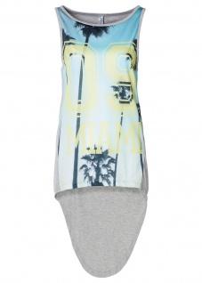 Rainbow Longtop Vokuhila Top Shirt Print Miami grau meliert Gr. 36/38 950406