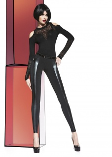 Damen Hose Stretch Leggings figurbetont Kunstleder Fleece elastisch Adele
