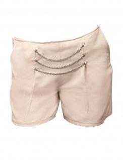 Damen Shorts kurze Hose Kettenverzierung Bermuda Pants Beige 583866