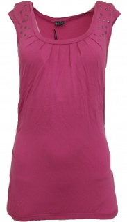 Laura Scott Shirt Falten Nieten Tunika Stretch Top T-Shirt Bluse Pink 165500