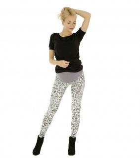 Umstand Hose Leggings Umstandshose lang gekämmte Baumwolle Leopard-Muster