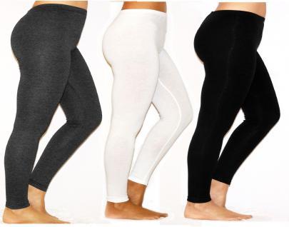 Damen Herren Leggings Leggins lang blickdicht Baumwolle Hose Wäsche Übergröße
