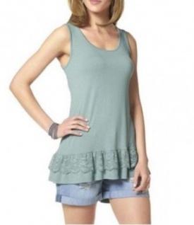 Aniston Damen Longtop Top Spitze Tanktop Shirt ärmellos türkis 563643